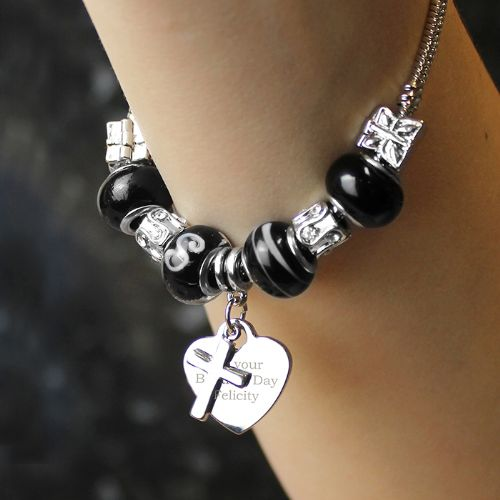 Personalised Cross Charm Bracelet - 21cm - Galaxy